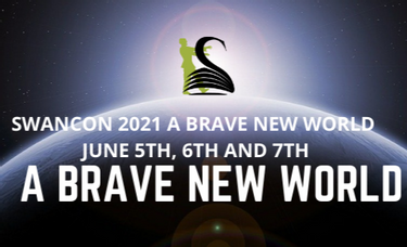SWANCON swan logo over a background of the sun rising over Earth, and information: Swancon 2021 A Brave New World, June 5th, 6th and 7th
